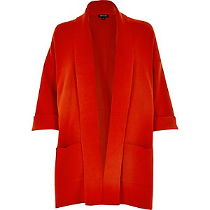 Red clean knit coatigan