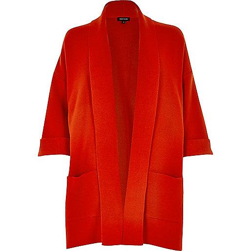 Red clean knit coatigan