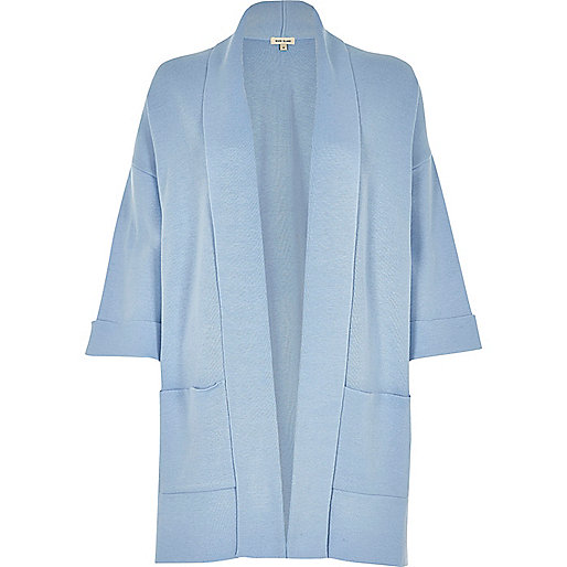 Manteau cardigan en maille bleu clair
