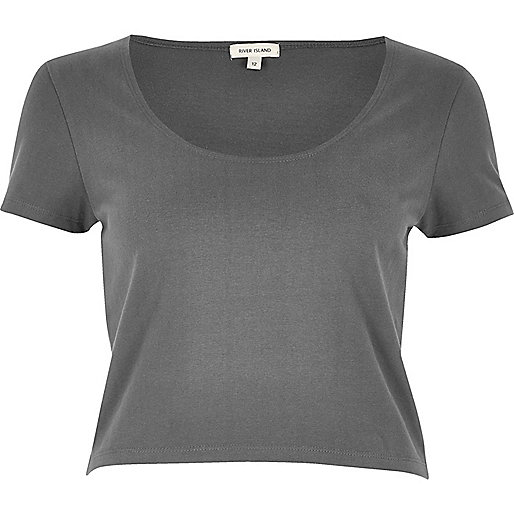Grey scoop neck crop top