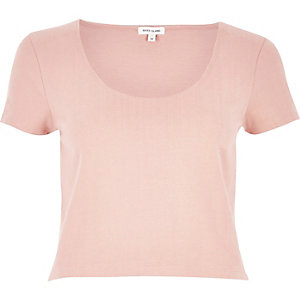 Pink scoop neck crop top