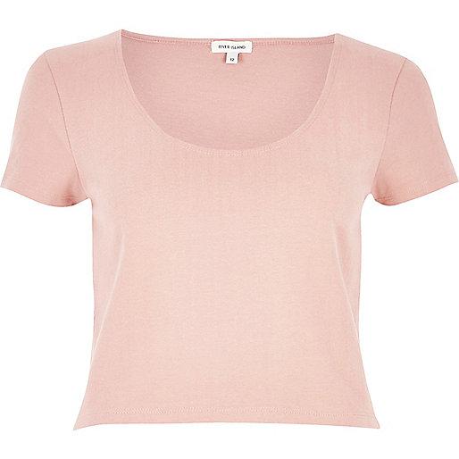 Pink scoop neck crop top