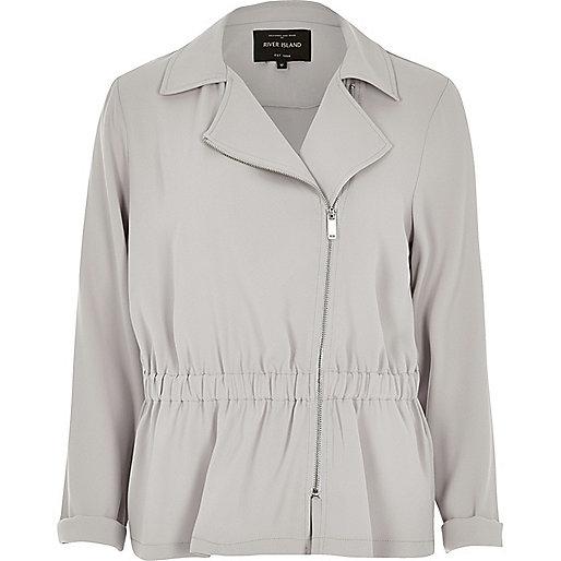 Grey woven biker jacket