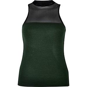 Green mesh jersey grazer top