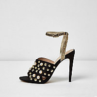 Black embellished strappy heel sandals
