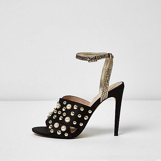 Black embellished strappy heel sandals