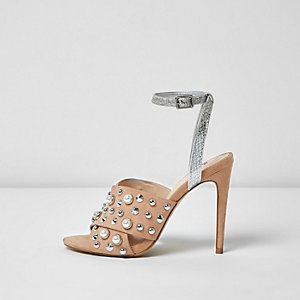 Nude embellished cross strap heel sandals