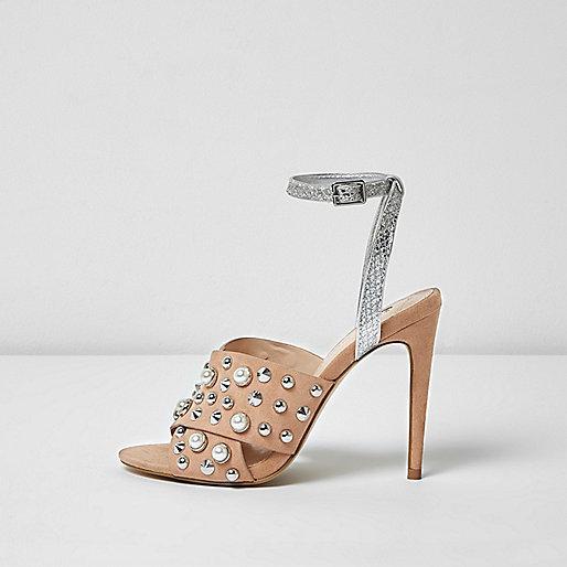 Nude embellished strappy heel sandals
