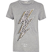 Grey glitter lightning print T-shirt