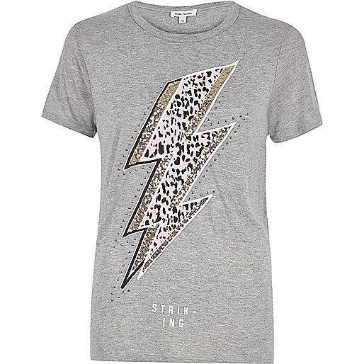 T-shirt gris à imprimé éclair pailleté