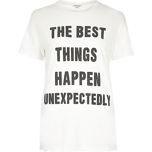 """T-Shirt mit """"Best Things""""-Print in Creme"""