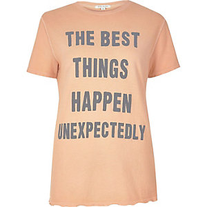 Coral 'Best Things' print T-shirt