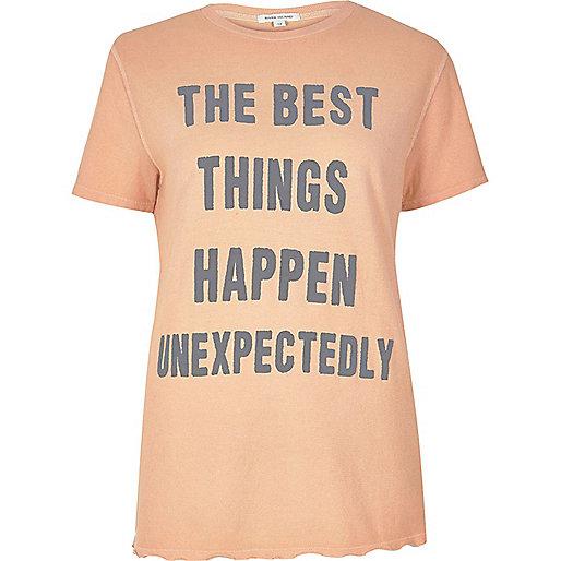 T-shirt imprimé 'Best Things' corail