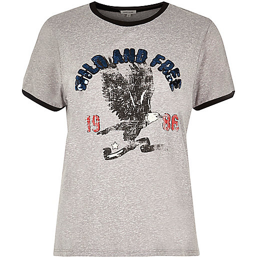 Grey sequin print T-shirt