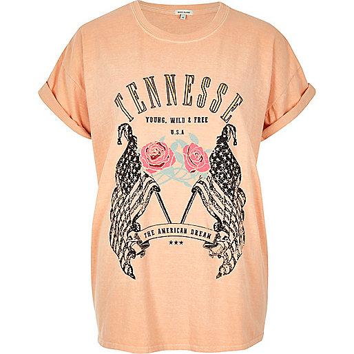 Pink 'Tennessee' print boyfriend T-shirt