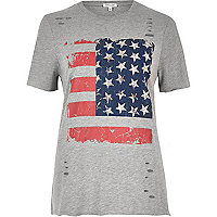 Grey studded flag print T-shirt