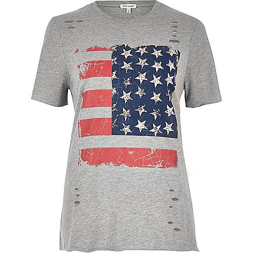 Grey studded flag print T-shirt