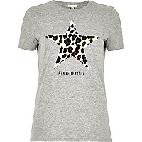 Graues T-Shirt mit Leoparden- und Sternmuster