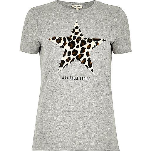T-shirt gris imprimé étoile léopard
