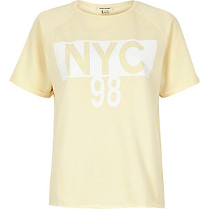 Yellow 'NYC' print T-shirt