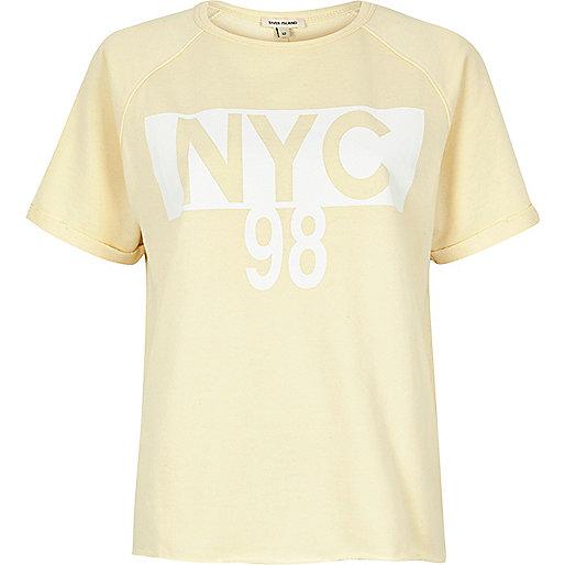 Yellow 'NYC' print T-shirt