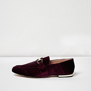 Dark red velvet fold back loafers