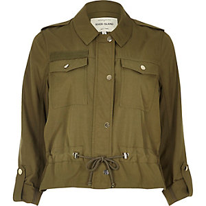 Khaki lightweight drawstring jacket