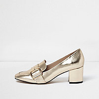 Gold buckle strap heeled loafers