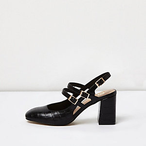 Black textured multi buckle Mary Jane shoes