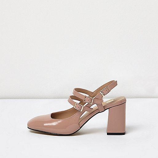 Pink multi buckle Mary Jane shoes