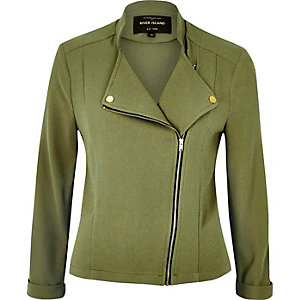 Green soft biker jacket
