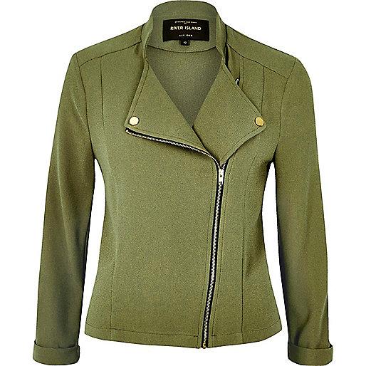 Green soft biker jacket