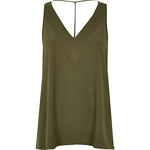 Khaki T-bar cami top
