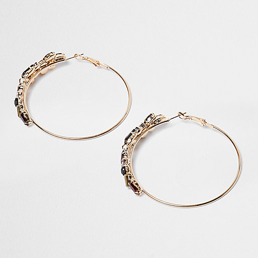 Gold tone jet stone hoop earrings