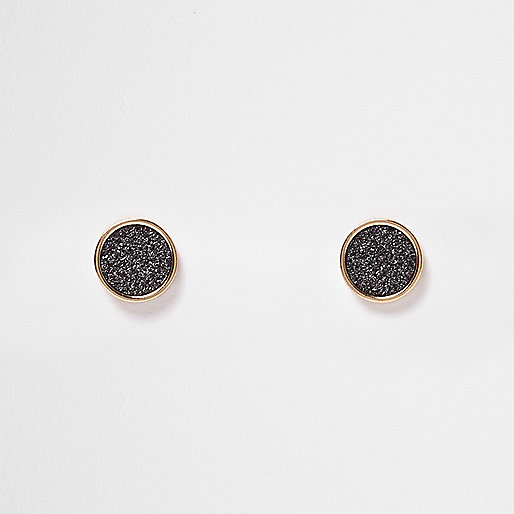 Rose gold tone gliter stud earrings