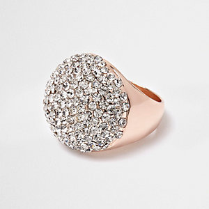 Rose gold tone encrusted dome ring