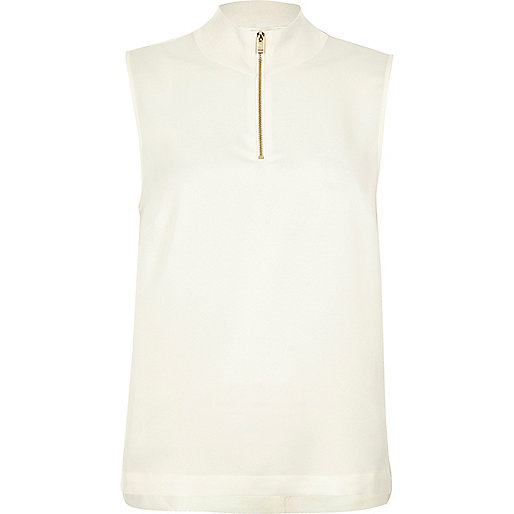 White sleeveless high neck top