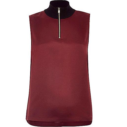 Purple sleeveless high neck top