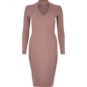Dark pink ribbed choker bodycon dress