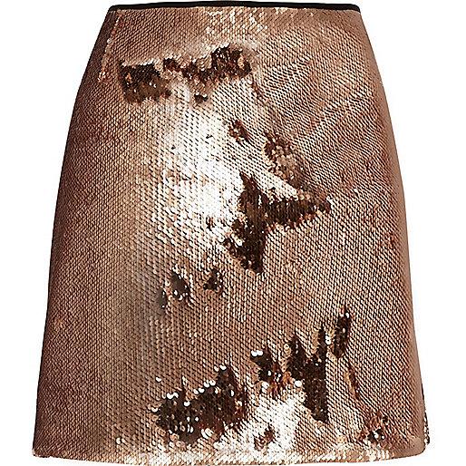 Rose gold sequin mini skirt