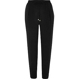 Black soft woven drawstring pants