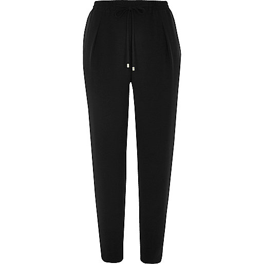 Black soft woven drawstring trousers