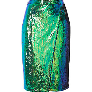 Bright turquoise sequin wrap midi skirt