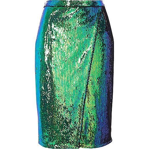Jupe mi-longue turquoise vif à sequins style portefeuille