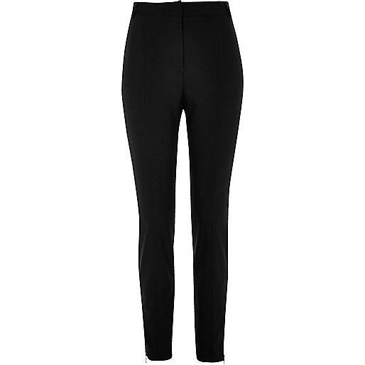 Black slim fit seamed trousers