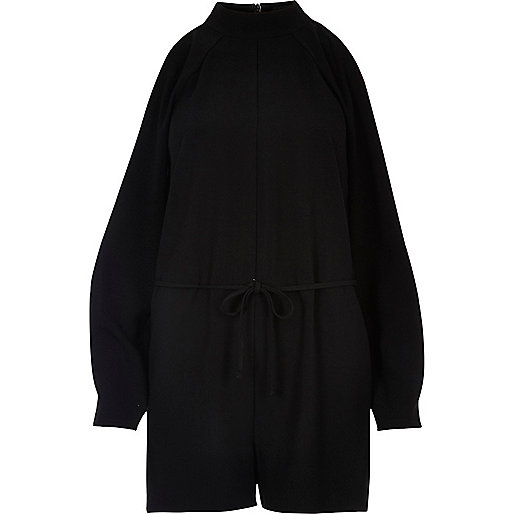 Black cold shoulder playsuit