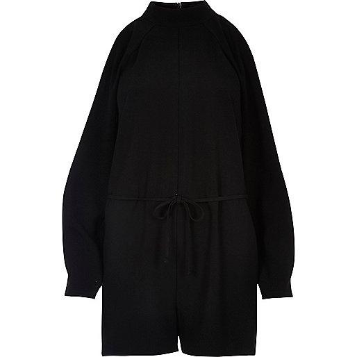 Combi-short noir découpé aux épaules
