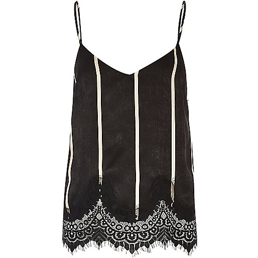 Black stripe lace hem cami