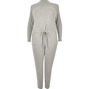 Plus grey cold shoulder jumpsuit