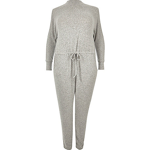 RI Plus grey cold shoulder jumpsuit